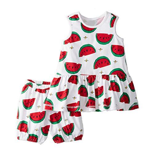 Meeyou Little Girls' Lovely Tank top & Essential Shorts Set (7 Long, Watermelon)