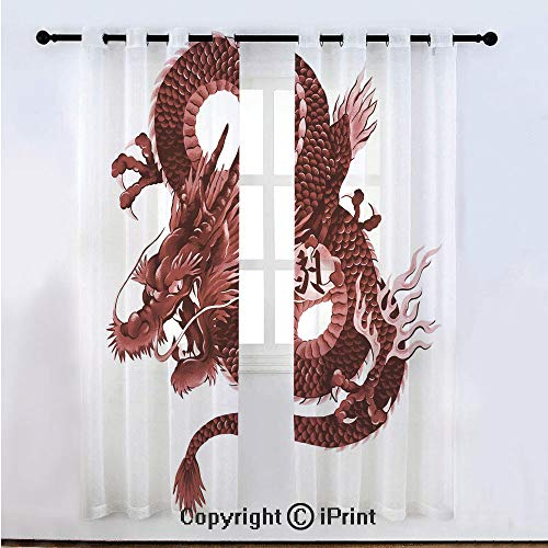 (Dragon Semi Sheer Voile Window Curtain With Drapes Grommet,Japanese Dragon Figure Tatsu Deity Symbol Sacred Folk Noble Monster Theme Decorative,for Bedroom,Living Room & Kids Room(108
