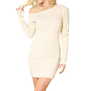 Big Promotion! Teresamoon Womens Autumn Casual Long Sleeve Off Shouder Button Mini Dress