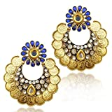 Adiva Women's Faux Ram Leela Kundan Goddess Lakshmi Coin India Copper Earring Ab150B Blue