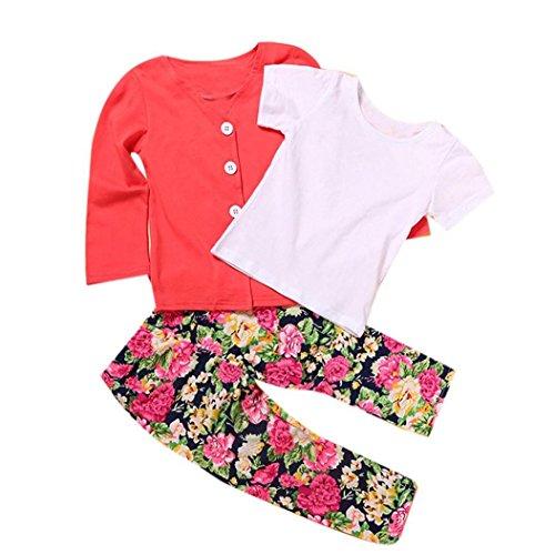 VIASA 1Set Kids Toddler Girls Long Sleeve T-Shirt Tops+Coat+Pants Clothes Outfits (2T)