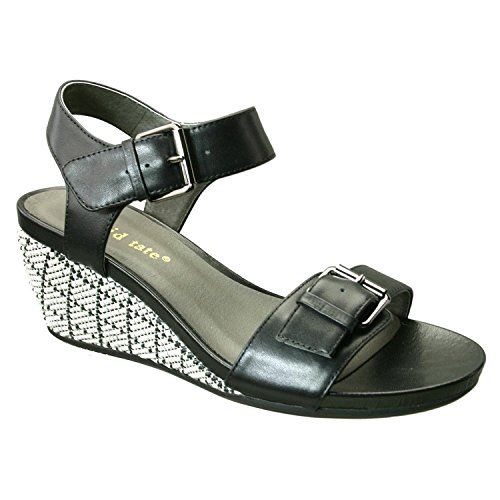 David Tate Women's Touch Wedge Sandal,Black Calfskin,US 7 M