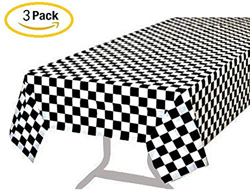 BRICHBROW Pack of 3 Premium Plastic Checkered Flag Tablecloths Picnic Table Covers, Tablecovers Party Favor (Black)