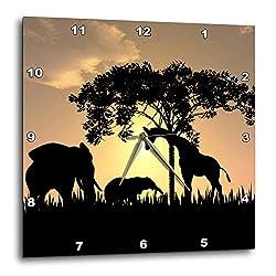 3dRose DPP_48979_3 African Safari Silhouette Wall Clock, 15 by 15-Inch