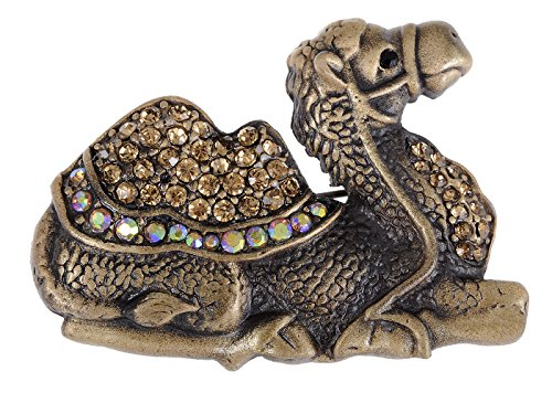 (Alilang Topaz Crystal Rhinestone Camel Chillin' Smokey Light Animal Brooch Pin)