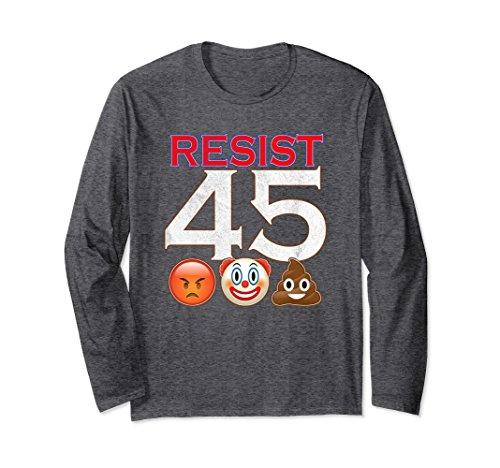Unisex Anti Trump Resist 45 Angry Clown Poop Emojis Long Sleeve Tee 2XL Dark Heather