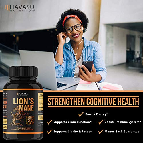 Havasu Nutrition Lion's Mane Mushroom Capsules - Energy Boosting, Brain Booster Mushroom Supplement - 1000mg, Non GMO - Stress Relief, Immune System Booster - Wellness Formula, 60 Capsules