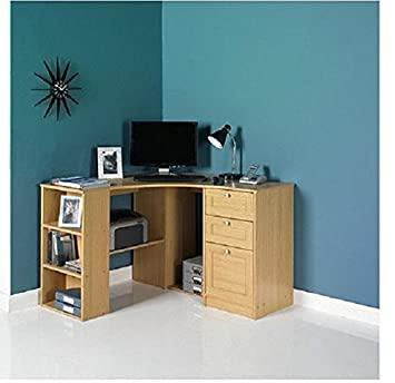 fraser wood computer corner desk workstation oak proffesional home rh amazon co uk corner desk with storage for small spaces corner desks with storage bedroom