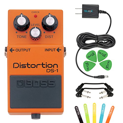 Guitar Pedal Musical Instruments (Boss DS-1 Distortion Guitar Effects Pedal -INCLUDES- Blucoil Power Supply Slim AC/DC Adapter for 9 Volt DC 670mA, 5 Pack of Cable Ties AND 2 Hosa 6-inch Molded Right-Angle Patch Cables)