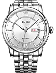 BUREI Mens Elegant Classic Automatic Watches with Analog Dial Date Calendar Scratch Resistant Window Stainless...