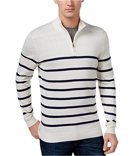 - Club Room Men's Striped Half-Zip Sweater (Small, Bright White)