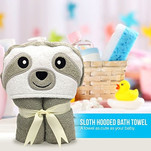 Echelon Hooded Sloth Animal Face Bath Towel Grey for Baby Kids Boys Girls Unisex Children Babies Made from Cotton Size 50'' width x 26'' tall