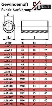 M8x25 - V2A SC-Normteile - Gewindemuffen in Runder-Ausf/ührung Rundmuffen - Edelstahl A2 L/änge: 25 mm 25 St/ück - SC9178