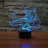 Pet Cat 3D Lamp Optical Illusion Night Light, Gawell 7 Color Changing Touch Switch Table Desk Decoration Lamps Perfect Christmas Gift with Acrylic Flat & ABS Base & USB Cable Creative Toy