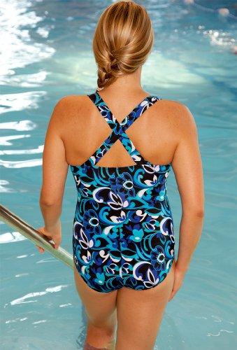 36796a07c4abc Beach Belle Chlorine Resistant! Polynesian Blue Plus Size Cross Back  Swimsuit Women s Swimwear - OneColor - Size 22