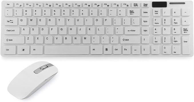 Accesorios para PC Portátil Ordenador Teclado Inalámbrico 2.4G + Cubierta del Teclado Color Blanco + Ratón Óptico Delgado