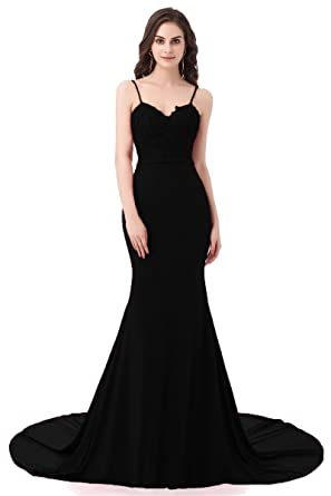 Ruolai ASA Bridal Womens Long Prom Dress Mermaid Lace Evening Gown Black 2