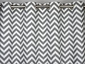 Ash Grey and White Chevron Zig Zag Drape with Blackout Lining, One Grommet Top Curtain Panel 84 inches long x 50 inches wide