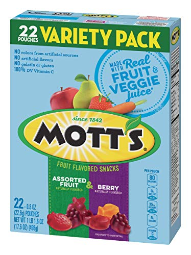 - Mott's Medleys Assorted Fruit Berry Flavored Variety Snacks Pack, 22 ct