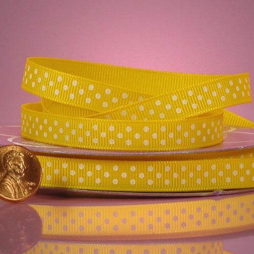 - Yellow And White Polka Dots Grosgrain Ribbon, 3/8