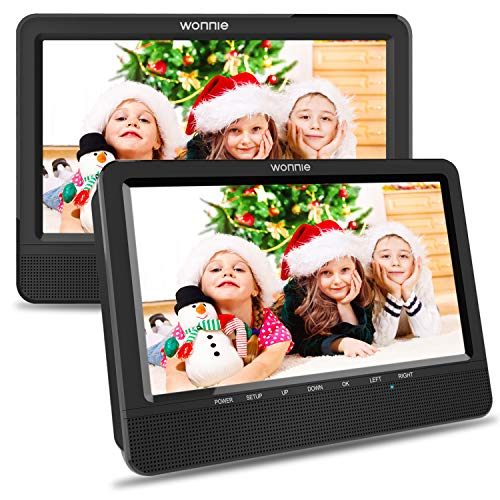 WONNIE 10.5'' Car Dual DVD Player Portable Headrest CD Players for Kids, Built-in 5 Hours Rechargeable Battery Great for Family Travel ( 1 Player+1 Monitor ) (Car Video Cd Player)