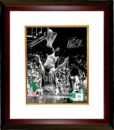 RDB Holdings & Consulting CTBL-MW20448 16 x 20 in. Magic Johnson Signed Michigan State Spartans Slam Dunk BW Photo Framed44; White & Mahogany from RDB Holdings & Consulting