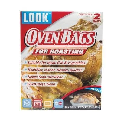 Giant Size LOOK No-Mess Cooking Bag 2 Pack - Oven Stays Clean and Food Stays Moist for Turkeys, Turducken, Tofurky, Ham, Roasts, Legs of Lamb and More, 11 to 22 lbs