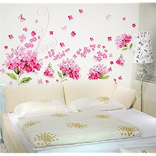 Superb Amaonm Removable DIY Romantic Pink Hydrangea Flowers Flower Vines Butterfly Wall  Decals Home Art Decor Stickers Murals Peel Stick For Tv Background Living  ...