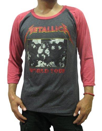 Men's Metallica Concert World Tour Rock Raglan T-Shirt, M to XL