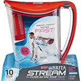 Brita 10-Cup Stream Filter as You Pour Water Pitcher with 1 Filter, Hydro, BPA Free, Chili Red