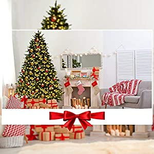 Goplus Artificial Christmas Tree Pre-Lit Spruce Hinged Tree w/LED Lights and Pine Cones 2