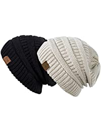 Slouchy Beanie Hat Men Women 2 Pack Winter Warm Chunky Soft Oversized Cable Knit Cap