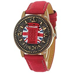 Red Antique Retro Style London Telephone Booth Clamshell Wrist Watch Quartz Movement Leather Strap