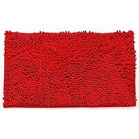 LOHOME (TM) High-grade Chenille Custom Floor Mats Washable Soft Shaggy Door Mat Absorbent Non-slip Mats Bathroom Shower Rugs Carpet (Dark Red)