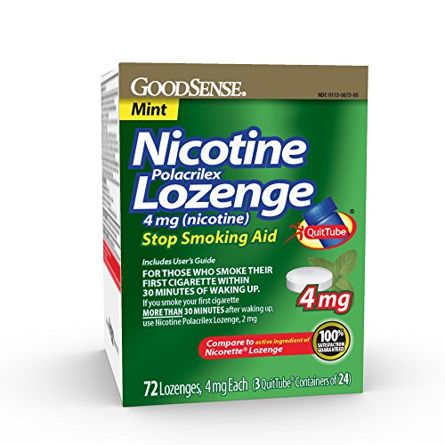 GoodSense Nicotine Polacrilex Lozenge 4mg, Mint, 72-count, Stop Smoking Aid, GoodSense Smoking Cessation Products - Replacement Nicotine