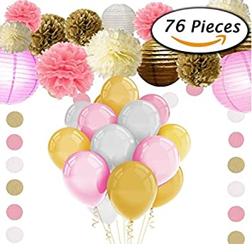 Amazoncom Baby Shower Decorations For Girl 72pcs Pink And Gold