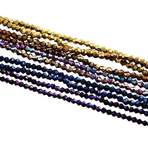 ARRICRAFT 10 Strands Multicolored Faceted Bicone Electroplate Glass Bead Strands Rainbow Plated for Jewelry Making, 3x3.5mm, About 150pcs/strand, 18