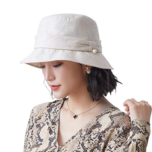 677888 Women's Summer Sun hat Cotton and Linen Adjustable Fisherman hat, Suitable for 56-58cm Beige