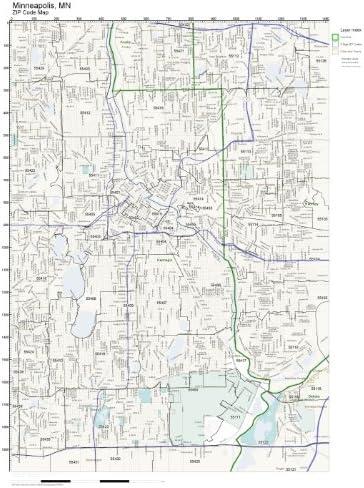Amazon.com: ZIP Code Wall Map of Minneapolis, MN ZIP Code ...
