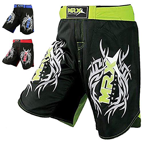 New MRX MMA Fight Shorts Stretch Penals Grappling UFC Cage Fighting Muay Thai Kickboxing Trunks (Black Green, Medium) ()