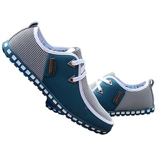 Zon Lorence Heren Lichtgewicht Rijden Instappers Schoenen Casual Britse Lederen Sneakers Blauw
