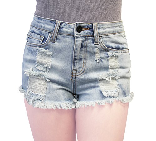 Clio Couture Women's High Rise Stretch Vintage Denim Shorts Medium (Raw Edge Thigh High compare prices)
