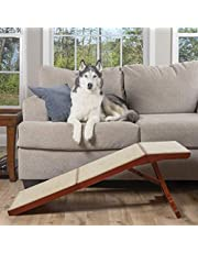 PetSafe CozyUp Sofa Ramp - Durable Wooden Pet Ramp Holds up to 100 lb - Great Couch Access for Dogs and Cats - Cherry Finish with Non-slip Carpet Tread - Folds for Easy Storage