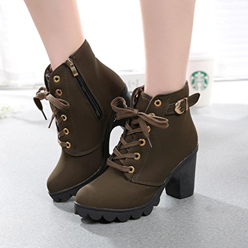 Womens Boots,Clode® Fashion Ladies Winter High Heel Lace Up Ankle Boots Ladies Buckle Platform Shoes Army Green