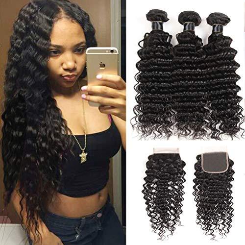 Brazilian Virgin Deep Wave Hair Bundles With Closure 9A Grade 100% Unprocessed Deep Curly Human hair 3 Bundles With 44 Lace Closure Free Part ... (18 18 18+16 closure)