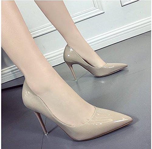 con De Superficial Zapatos Ultra del Tacón Alta Los Color Finos 5CM Boca 8 Zapatos Zapatos A Alto Caqui Alto Superior 8Cm Femeninos GAOLIM Desnuda Solo De Punta Talón dUO5xAdqw