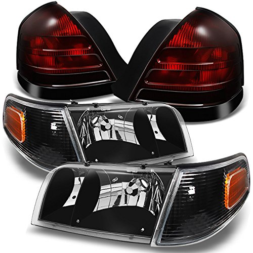 (For Ford Crown Victoria Black Headlights Repalcement Pair + Dark Red 2 Bulb Socket Tail Lights Combo Set)