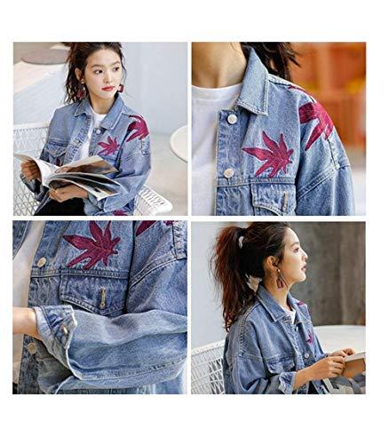 Vintage Giacca Jacket Jeans Tempo Ragazze Base Libero Ragazza Chic Blau Elegante Autunno Manica Ricamate Giacche Primaverile Donna Moda Outerwear Lunga pqOEfrdqZ