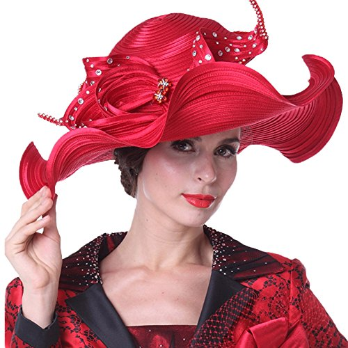 207016f9e42 Kueeni Women Hats Hot Red Color Church Hats Lady Party Wear Fedoras Hats