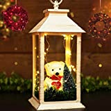 """BRIGHT ZEAL 13"""" TALL Vintage Lanterns with Cute TEDDY BEAR & 30 LED Starry String Lights (Distressed WHITE Coating, 6hr Timer) - Decorative Lantern With LED Christmas Lights - Indoor Hanging Lights"""